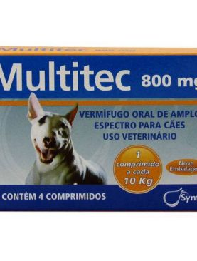 Vermifugo Multitec 800mg Cães c/ 10kg 4 comp. - Syntec