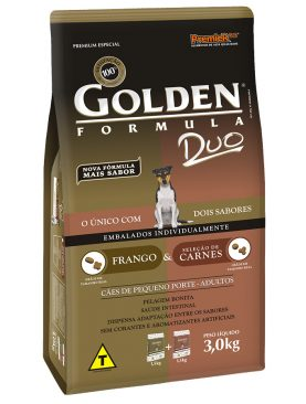 Ração Golden Adulto Duo Frango e Carne Mini Bits 3 Kg